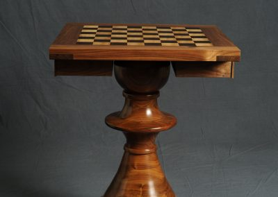Chess Table with Walnut Base with Wenge & Quarter Sawn Sycamore squares