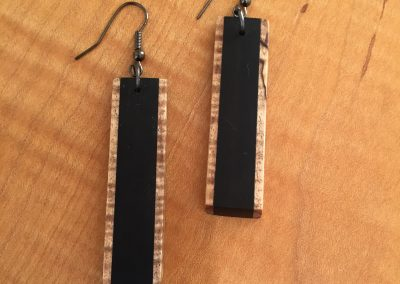 Earrings Spalted Maple & Ebony 2 x 1:2