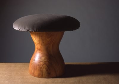 Mushroom Stool made with Ghost Maple with velvet seat