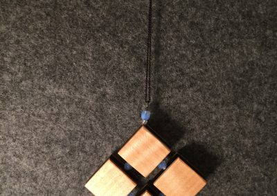 Maple & Ebony Squares w:Pale Blue Glass Beads