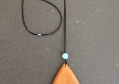 Olive Triangle with Large Blue Glass Bead