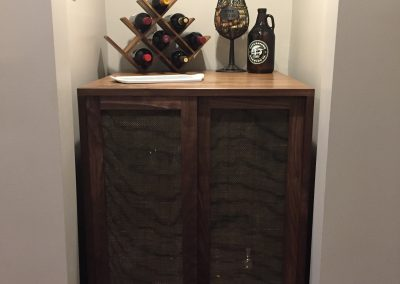 Wine Bar - Doors Closed made with walnut and wire mesh door inserts
