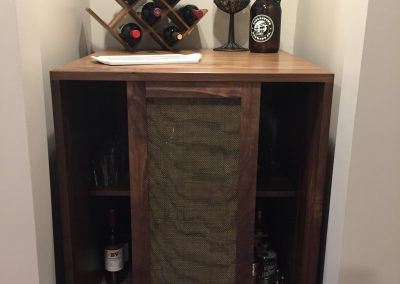 Wine Bar Doors Open to Center made with Walnut and wire mesh inserts