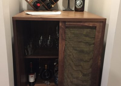 Wine Bar Doors Open to Right made with Walnut and wire mesh inserts