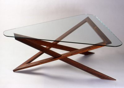 Intersection Coffee Table made with Cocobola and Glass